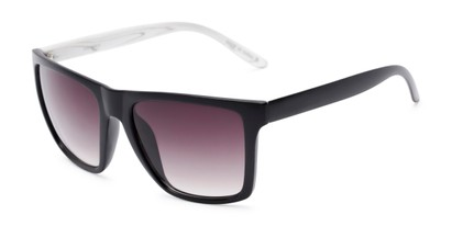 Angle of Miller #54099 in Black Frame with Smoke Lenses, Women's and Men's Square Sunglasses
