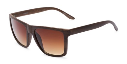 Angle of Miller #54099 in Brown Frame with Amber Lenses, Women's and Men's Square Sunglasses