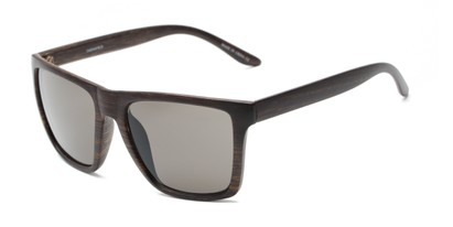 Angle of Miller #54099 in Brown Frame with Grey Lenses, Women's and Men's Square Sunglasses