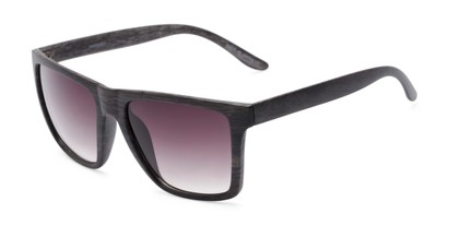 Angle of Miller #54099 in Grey Frame with Smoke Lenses, Women's and Men's Square Sunglasses