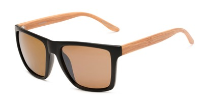 Angle of Miller #54099 in Black/Light Brown Frame with Light Amber Lenses, Women's and Men's Square Sunglasses