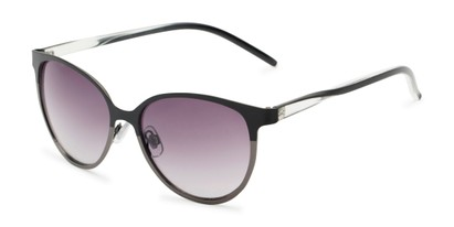 Angle of Mira #5060 in Black/Grey Frame with Smoke Gradient Lenses, Women's Cat Eye Sunglasses
