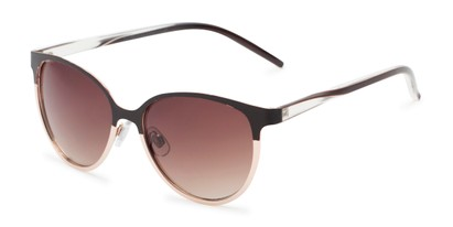 Angle of Mira #5060 in Brown/Gold Frame with Amber Gradient Lenses, Women's Cat Eye Sunglasses