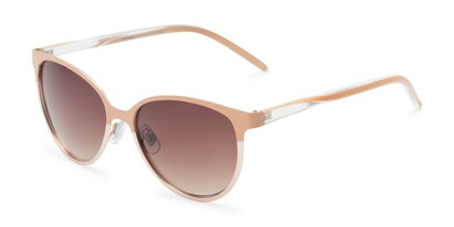 Angle of Mira #5060 in Tan/Gold Frame with Amber Gradient Lenses, Women's Cat Eye Sunglasses