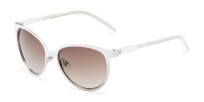 Angle of Mira #5060 in White/Silver Frame with Grey Gradient Lenses, Women's Cat Eye Sunglasses