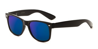 Angle of Mirage #1645 in Black Frame with Blue Mirrored Lenses, Women's and Men's Retro Square Sunglasses