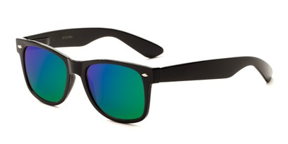 Angle of Mirage in Black Frame with Blue/Green Mirrored Lenses, Women's and Men's Retro Square Sunglasses