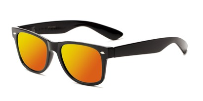 Angle of Mirage in Black Frame with Orange Mirrored Lenses, Women's and Men's Retro Square Sunglasses
