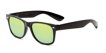 Angle of Mirage in Black Frame with Yellow/Blue Mirrored Lenses, Women's and Men's Retro Square Sunglasses
