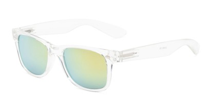 Angle of Mirage in Clear Frame with Yellow/Green Mirrored Lenses, Women's and Men's Retro Square Sunglasses