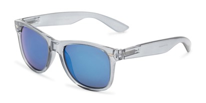 Angle of Mirage in Clear Grey Frame with Blue Mirrored Lenses, Women's and Men's Retro Square Sunglasses