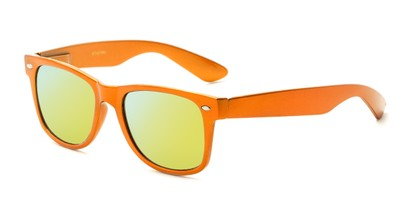 Angle of Mirage in Orange Frame with Yellow Mirrored Lenses, Women's and Men's Retro Square Sunglasses