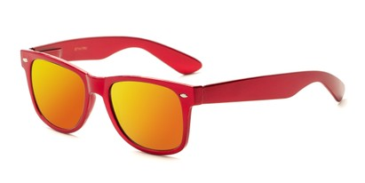 Angle of Mirage in Red Frame with Orange Mirrored Lenses, Women's and Men's Retro Square Sunglasses