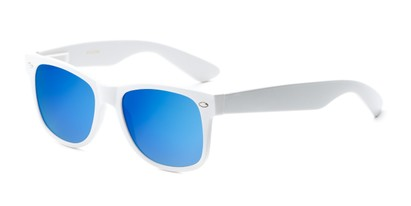 Angle of Mirage in White Frame with Blue Mirrored Lenses, Women's and Men's Retro Square Sunglasses