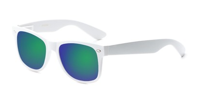 Angle of Mirage in White Frame with Green/Purple Mirrored Lenses, Women's and Men's Retro Square Sunglasses