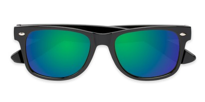 Folded of Mirage in Black Frame with Blue/Green Mirrored Lenses