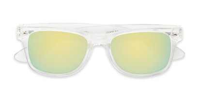 Folded of Mirage in Clear Frame with Yellow/Green Mirrored Lenses