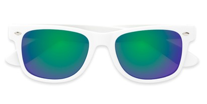 Folded of Mirage in White Frame with Green/Purple Mirrored Lenses
