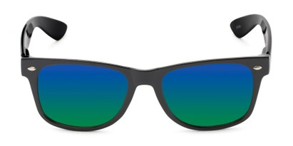 Front of Mirage in Black Frame with Blue/Green Mirrored Lenses