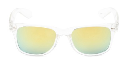 Front of Mirage in Clear Frame with Yellow/Green Mirrored Lenses