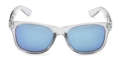 Front of Mirage in Clear Grey Frame with Blue Mirrored Lenses