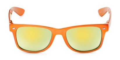 Front of Mirage in Orange Frame with Yellow Mirrored Lenses