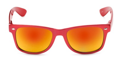 Front of Mirage in Red Frame with Orange Mirrored Lenses