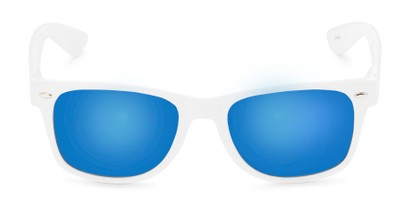 Front of Mirage in White Frame with Blue Mirrored Lenses