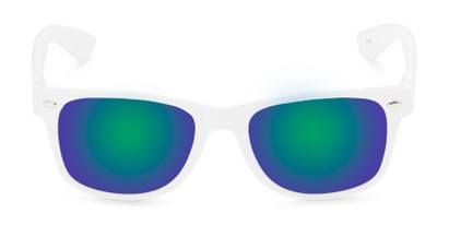 Front of Mirage in White Frame with Green/Purple Mirrored Lenses