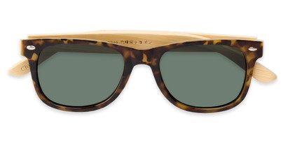 Folded of Mohawk #1462 in Yellow Tortoise Frame with Green Lenses
