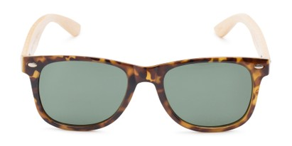 Front of Mohawk #1462 in Yellow Tortoise Frame with Green Lenses
