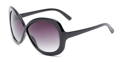 Angle of Monarch #5660 in Black Frame with Smoke Lenses, Women's Square Sunglasses