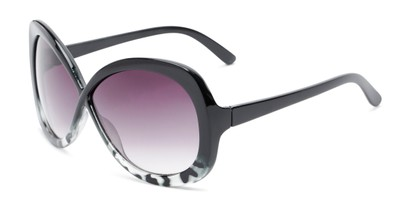 Angle of Monarch #5660 in Black/Grey Tortoise Fade Frame with Smoke Lenses, Women's Square Sunglasses