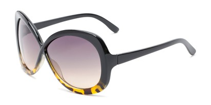 Angle of Monarch #5660 in Black/Brown Tortoise Fade Frame with Smoke Lenses, Women's Square Sunglasses