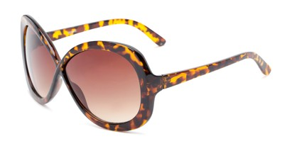 Angle of Monarch #5660 in Brown Tortoise Frame with Amber Lenses, Women's Square Sunglasses