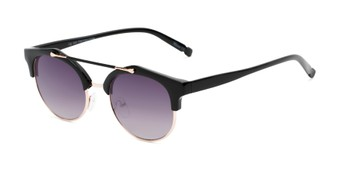 Angle of Derby #5273 in Black/Gold Frame with Smoke Gradient Lenses, Women's and Men's Browline Sunglasses