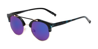 Angle of Derby #5273 in Blue Tortoise/Gold Frame with Blue Mirrored Lenses, Women's and Men's Browline Sunglasses