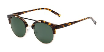 Angle of Derby #5273 in Brown Tortoise/Gold Frame with Green Lenses, Women's and Men's Browline Sunglasses
