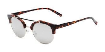 Angle of Derby #5273 in Red Tortoise/Silver Frame with Silver Mirrored Lenses, Women's and Men's Browline Sunglasses