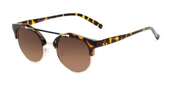 Angle of Derby #5273 in Brown Tortoise/Gold Frame with Amber Lenses, Women's and Men's Browline Sunglasses