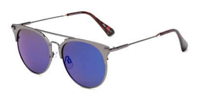 Angle of Morrison #2017 in Grey Frame with Blue/Purple Mirrored Lenses, Women's and Men's Round Sunglasses