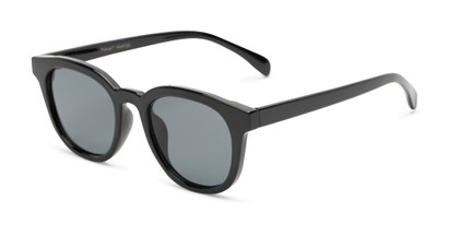 Angle of Myth #16091 in Black Frame with Grey Lenses, Women's and Men's Retro Square Sunglasses