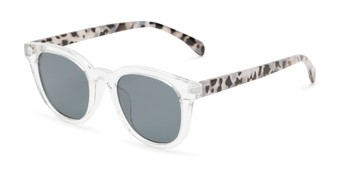 Angle of Myth #16091 in Clear/Grey Tortoise Frame with Grey Lenses, Women's and Men's Retro Square Sunglasses