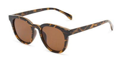 Angle of Myth #16091 in Brown Tortoise Frame with Amber Lenses, Women's and Men's Retro Square Sunglasses