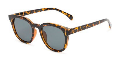 Angle of Myth #16091 in Tortoise Frame with Grey Lenses, Women's and Men's Retro Square Sunglasses