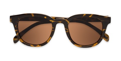 Folded of Myth #16091 in Brown Tortoise Frame with Amber Lenses