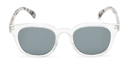 Front of Myth #16091 in Clear/Grey Tortoise Frame with Grey Lenses