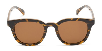 Front of Myth #16091 in Brown Tortoise Frame with Amber Lenses