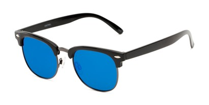 Angle of Nairobi #8387 in Black/Grey Frame with Blue Mirrored Lenses, Women's and Men's Browline Sunglasses