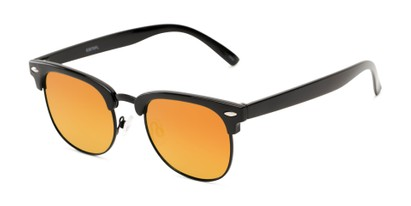 Angle of Nairobi #8387 in Black/Grey Frame with Orange Mirrored Lenses, Women's and Men's Browline Sunglasses